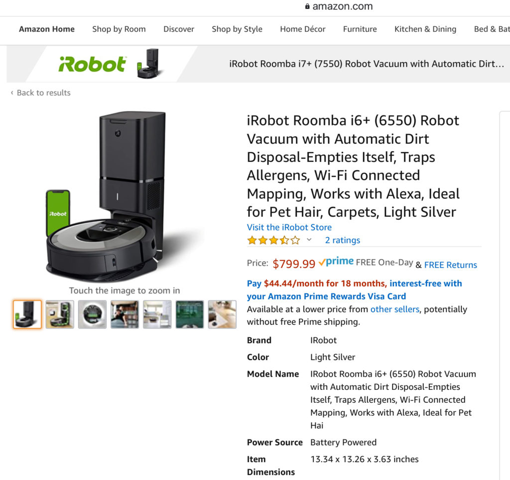 Amazon.com listing for i6+ Roomba from iRobot