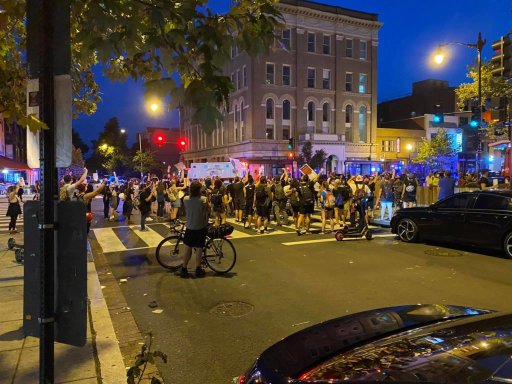 Late in the summer of 2020, misguided protests like this one took to the streets to proclaim that DC's own neighborhood residents did not have a right to eat publicly or live in the neighborhood in which they lived. Senseless, misdirected anger and boredom run amok.